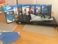 "50"" 3D Samsung TV, Panasonic 3D Blu-ray player, DVD's & glasses"