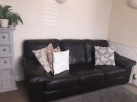 Three seater +Two Seater Chocolate Leather Sofas