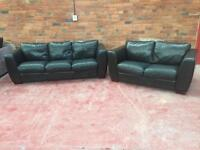 Brown Leather 2+3 Seater Sofas - UK Delivery