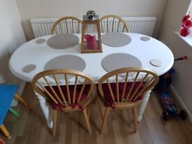 Chunky wood table and chairs
