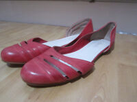 Faith red leather flat shoes - size 7 (used)