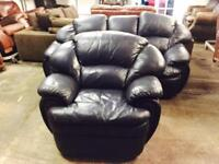 Navy 3 and 1 leather sofa set