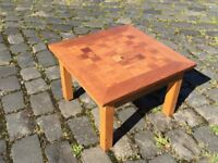 Wooden coffee table – with chequerboard inlayed wood top - £10