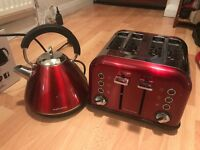 Gorgeous Red Morphy Richards kettle & toaster