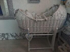 Claire de lune , excellent condition moses basket and changing station £110 for both