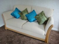 3 Piece Sofa Suite - Solid Beechwood Frame - Lovely Cream Fabric - Klaussner Furniture - Can Deliver
