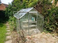2x 6ft x 4ft aluminium and glass greenhouses