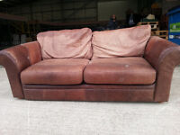 3 Seater 'distressed look' Leather Brown Couch Sofa - DELIVERY AVAILABLE