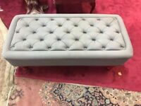 Large Luxury Buttoned Footstool - Grey And Red - Lounge - Bedroom