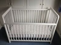Little used John Lewis Eric drop side cot and mattress