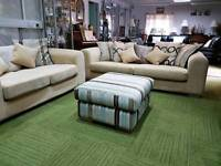 Gorgeous Cream suite 3 seater 2 seater and pouffee