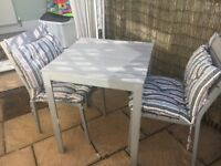 Garden table and 2 chairs with cushions (Ikea) blue/grey
