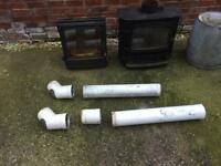 2 x cast iron log burner / fire with pipes