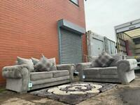 Beautiful Grey velvet Sofas 3&2 delivery 🚚 sofa suite couch