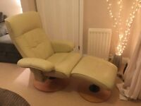 Cream leather swivel chair and footstool