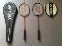 Yonex badminton rackets pair.