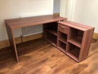 Corner dark wood desk