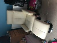 Cream leather arm chair with footstool