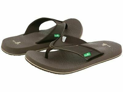 Men's Sanuk Brown Flip Flops Beer Cozy Casual Sandals Yoga Mat - PICK SIZE Beer Flip Flops Sandal