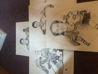 1986 Montreal Canadians large pencil sketch hockey cards