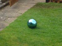 "Blue Gazing Globe Stainless Steel 8"" Mirror Ball Lawn Ornament Yard Patio Decor"