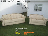 used large three seat and two seat cream real leather vgc in n wales