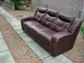 Top quality leather three piece suite with reclining chairs