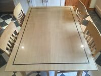 Solid Pine Table, with Walnut inlay, 4 Chairs and separate glass top. Looks Stunning
