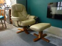 reclining chair leather with footstool.