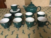 Denby Greenwich teapot cups and saucers