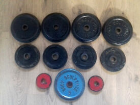 Weightlifting plates.