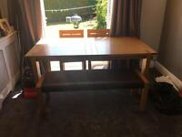 Dining Table, American Oak, 2 matching Chairs, matching bench
