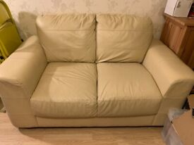 2 Seater Off White/cream Leather Sofa