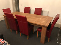 Antique Pine Dining Table & 6 x Chairs