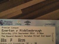 Everton V Middlesborough 17th September 2016 5:30pm
