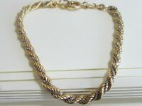 9ct Yellow & White Solid Gold Twisted Rope Bracelet Chain