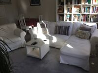 Ikea left or right corner sofa with armchair & 2 sets of interchangeable covers