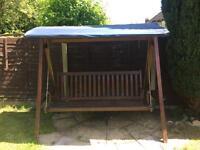 3 Seater High Quality Wooden Garden Swing Hammock Bench + Mattresses RRR £400