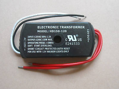 LOW VOLTAGE ELECTRONIC HALOGEN TRANSFORMER 120VAC TO12VAC 150W LIGHT DIMMABLE ()