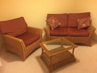 WICKER TWO PIECE SUITE AND MATCHING COFFEE TABLE