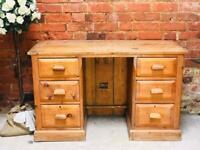 Old vintage solid pine desk Upcycle