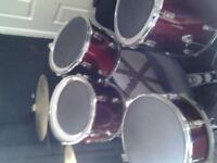 drum kit 5 piece hihats and cymbal plus sticks and silencer pads