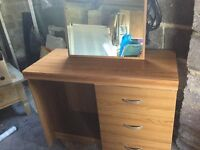 Teak effect dressing table 3 drawers not flat pack