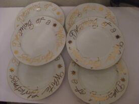 """""""I'm Dreaming of a White Christmas"""" Fine white china Dinner Plates x 6"""
