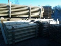 fencing stakes pointed machine round and half round rails from £1-95 +vat