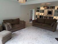 Three Piece Suite; 4 Seater Sofa, 2 Seater Sofa, Arm Chair & Storage Footstool , Furniture Village