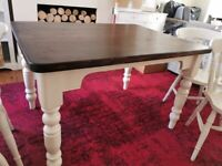 Painted pine dining table and 4 chairs set