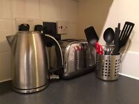 Kitchen, Flat Starter Pack: Toaster, kettle, saucepans, crockery, wine glasses