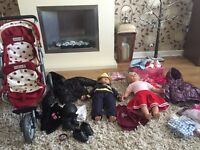 Sam Sally dolls mamas papas double buggy pushchair and clothes