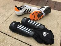 Children's adidas football boots & shin pads